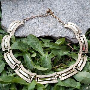 Vtg Gold Egyptian Revival Textured Collar Necklace